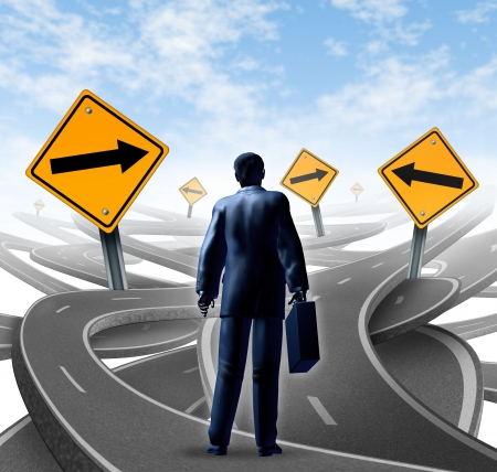 off path: Strategic journey as a business man with a breifcase choosing the right strategic path for a new career with blank yellow traffic signs with arrows tangled roads and highways in a confused direction