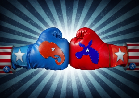 political system: American election campaign fight as Republican versus Democrat as two boxing gloves with the elephant and donkey symbol stitched fighting for the vote of the United states presidential and government seat