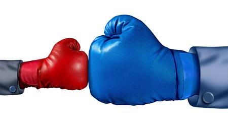 Wettbewerb und Not und im Kampf gegen die Etablierung als neue kleine Unternehmen gegen einen riesigen etablierten Unternehmen als kleinere Boxhandschuh gegen eine riesige ein als Symbol der Überwindung der Herausforderungen mit Mut und Überzeugung