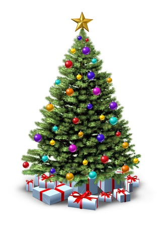 tree decorations: Decorated Christmas tree of natural green forest pine  with ornate decorative balls and gifts with red ribbons and bows as a  seasonal symbol of winter celebration and festive new year on a white background