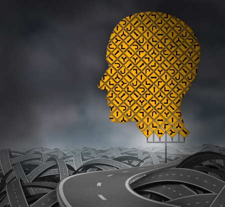 difficult journey: Finding your way in a challenging environment as a business career choice or health care decisions with a group of yellow road signs in the shape of a human head with confused tangled highways on a cloudy sky