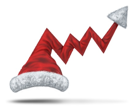 upward graph: Holiday profits and Christmas sales with a santaclause hat in the shape of an upward financial graph