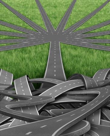 planeaci�n estrategica: Organizaci�n y gesti�n con un grupo de enredados caminos confusos y carreteras y una sola calle en un orden emergente equipo organizado de caminos que van en un viaje bien gestionado estrat�gico para el �xito empresarial