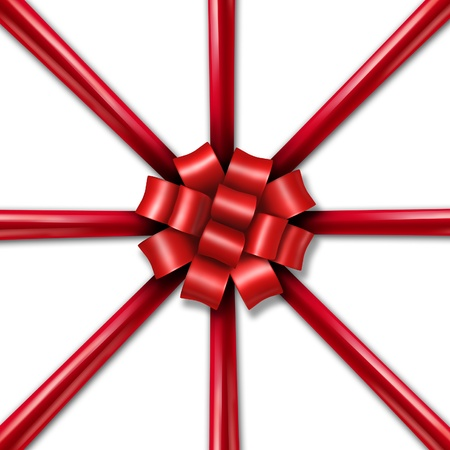 Star burst Christmas holiday red ribbon as a symbol of  a winter season tradition of gift giving and charitable spirit of the seasonal celebration on a white background  Stock Photo - 15975778