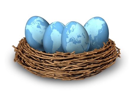 global retirement: Global investments and international finance business symbol with four blue eggs Stock Photo