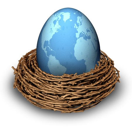 International investments and global finance business symbol with a blue egg photo