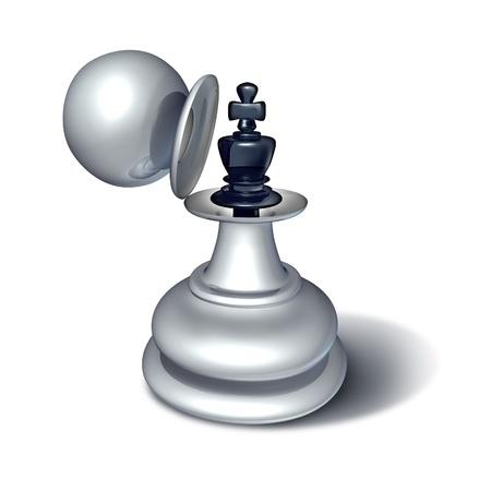 ajedrez: juego de ajedrez estatuilla rey revelado dentro de una figura pe�n grande