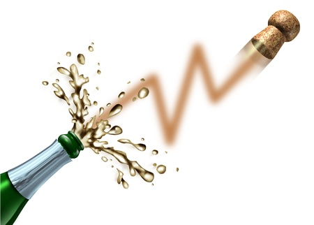 Stock market launch and profit celebration business success concept with a champagne bottle
