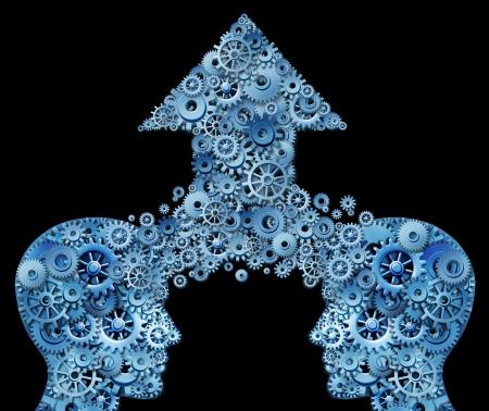 Denken als ein Team für den Erfolg als Corporate Partnership und business teamwork