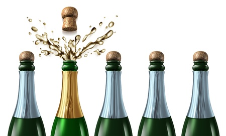 bidding: five champagne bottles with closed corks
