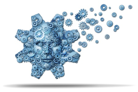 Business education and corporate training with gears and cogs shaped as a giant gear with a human face symbol spreading knowledge and teaching financial skills for career growth on a white background Stock Photo - 16244899
