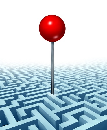 Finding your goal in life and in business with a concept of a red location direction pin in the middle of a complicated three dimensional maze or labyrinth as a symbol of searching for success from challenges on white