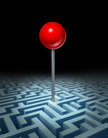 visualise: Overcome the obstacles and knowing where your goals are with a complicated three dimensional maze or labyrinth with a red location pin showing the place to be as a result of planning and strategy on black  Stock Photo