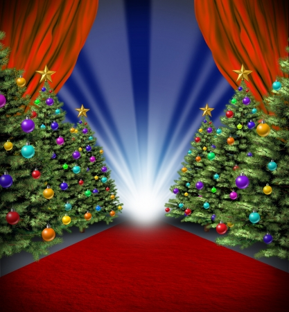 holiday movies: Red carpet holidays with curtains and Christmas trees with decorative ornaments for a Hollywood winter season premier and grand opening movie celebration and new year blockbuster theatrical performance