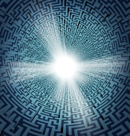 enlightened: Solution from confusion with a three dimensional maze or labyrinth in perspective and a shinning white freedom hole opening as a concept of business or life success and overcoming obstacles and challenges
