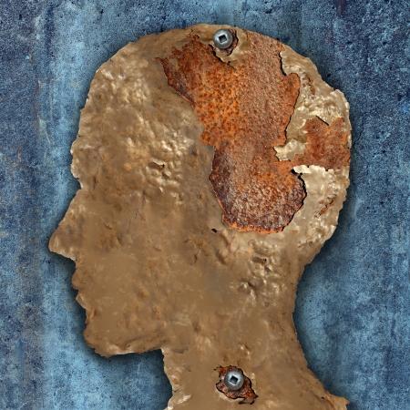 esquizofrenia: La demencia y el envejecimiento como la p�rdida de memoria concepto de decadencia c�ncer cerebral o un Alzheimer Foto de archivo