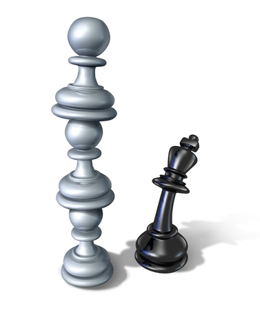Business team symbol and teaming up to defeat a powerful opponent with three chess pawns stacked one on top of each other  Stok Fotoğraf