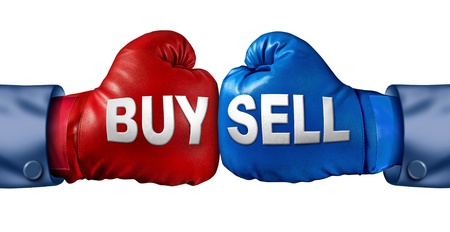boxing match: Buy or sell stocks or shares in a business Stock Photo