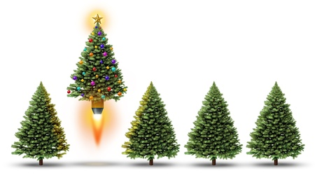 booster: Christmas party with a group of evergreen trees and one fun decorated ornamental pine blasting off with a rocket booster