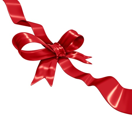 Red ribbon decoration on a diagonal composition in three dimension as a gift wrapping made of silk for celebrations
