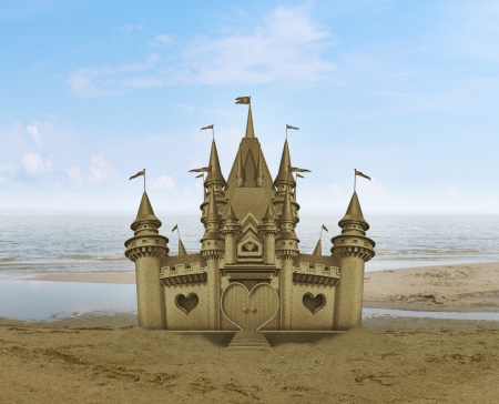 sand grains: Sandcastle sculpture sand art on a relaxing sandy beach with an ocean and summer background  Stock Photo