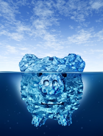 hidden danger: Savings risk and investing money dangers and hazards with an iceberg in the shape of a piggy bank