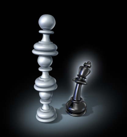 teaming up: Teaming up as an organised  business team for a powerful opponent with three chess pawns stacked on top of each other