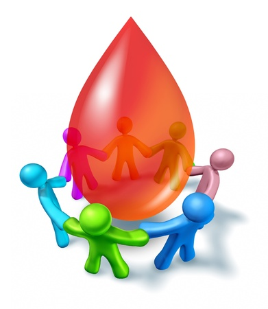 donations: Blood donation with a diverse community coming together as a charity event for giving and donating a life giving gift with people holding hands around a three dimensional red drop on a white background  Stock Photo