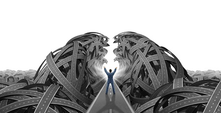 tangled roads: Leadership and vision with a businessman directing and showing management skills by parting the sea of tangled confused roads for business success and opening a clear path to wealth and financial freedom on a white background  Stock Photo