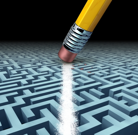 Finding solutions and solving a problem searching the best creative answers against a complicated and complex three dimensional maze having a clear shortcut path created by erasing the labyrinth with a pencil eraser  photo
