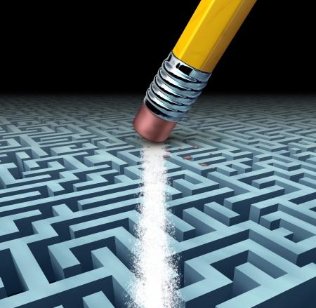 Het vinden van oplossingen en het oplossen van een probleem zoeken naar de beste creatieve antwoorden tegen een ingewikkelde en complexe driedimensionale doolhof met een duidelijke snelkoppeling pad gecreëerd door het wissen van het labyrint met een potlood gum