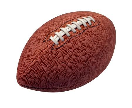 leather ball: F�tbol aislado en un fondo blanco como una bola deporte profesional para el juego tradicional juego americano y canadiense sobre un fondo blanco