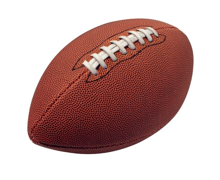 canadian football: Football isolated on a white background as a professional sport ball for traditional American and Canadian game play on a white background  Stock Photo