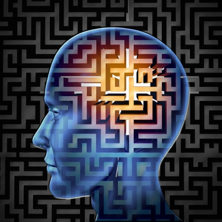 complexity: Brain search and human intelligence in regards to research in finding solutions through creative paths and overcoming challenges and obstacles to mental health issues with a glowing maze or labyrinth on a head  Stock Photo