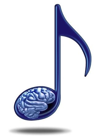 music therapy: Ense�anza de la m�sica y la terapia farmacol�gica con una nota musical que contiene un cerebro humano como un s�mbolo de la ense�anza y el aprendizaje de la potencia de las artes