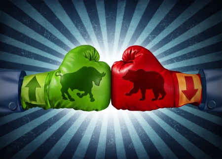bearish market: Stock market trading business concept with two boxing gloves with arrows going up and down with bull and bear icon emblems stitched to the glove as investment decisions and financial success with radial background