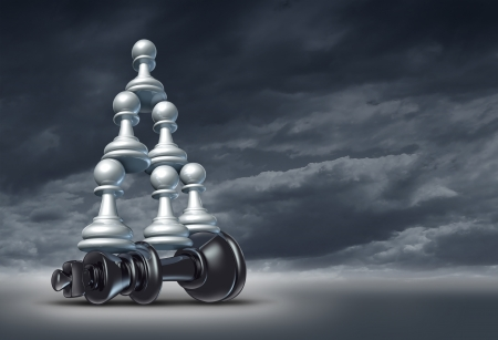 Balance of power and team victory as a business strategy chess symbol of changing the leader by teaming up in partnership and collaborating together to defeat a powerful competitor  Stock Photo - 16559220