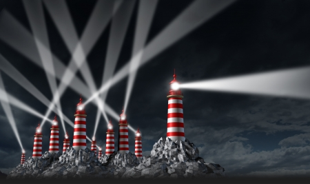 best guide: Best Advice business and financial guidance beacon with a group of confused light shinning  lighthouse tower buildings with one leader showing the right direction  Stock Photo