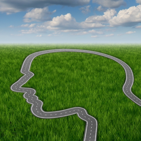 about you: Career path and business planning decisions through education and searching for financial opportunities as a road or highway in the shape of a human head on a summer sky  Stock Photo