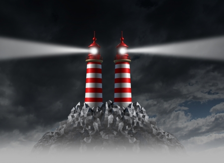 uncertainty: Decision crossroad and choosing the right path away from danger and hazardous choices in business with two opposite shinning light lighthouse towers on a cloudy night sky  Stock Photo