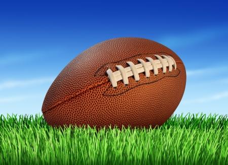football play: Pallone da calcio su un campo di erba e un cielo blu come uno sport gioco professionale o all'universit� per la tradizionale gioco americano e canadese Archivio Fotografico
