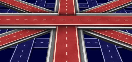england politics: Great Britain highway Flag in perspective as a three dimensional symbol made of intersecting roads to form an icon of British economic growth English culture and European transportation concept