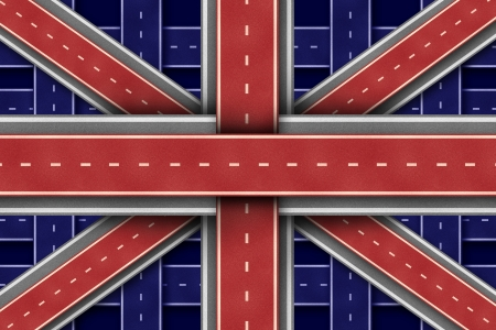 Great Britain Flag made of intersecting roads to form the symbol of British economic growth English culture and European transportation concept  photo