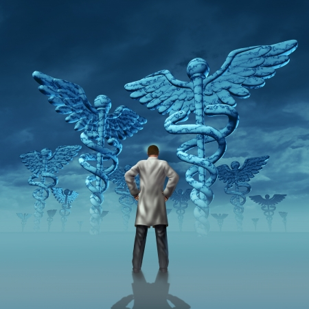 Health care stress and challenges faced by a doctor facing burnout over working at a hospital or medical clinic with a professional practitioner in a lab coat facing giant caduceus symbol sculptures