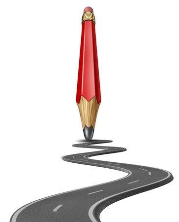 self starter: Make your own path and draw a business life strategy plan yourself with a red pencil drawing a road or highway to personal or financial success on white