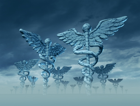 medical distribution: Medicine landscape with giant Caduceus sculptures as a symbol of the future of health care and medical treatment with confusion and difficult decisions ahead  Stock Photo