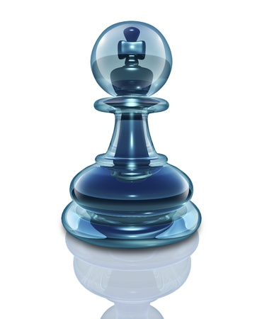 Power within and the potential to transform into a great leader by looking inside as a transparent glass chess pawn with a king piece hidden at the core on a white background  Stock Photo - 16559212