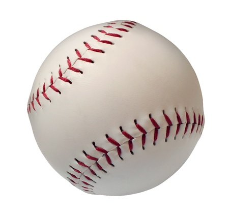 Baseball or Softball Isoltated on a white background as an American cultural and traditional national passtime sport with a sphere made of white leather and red stitching