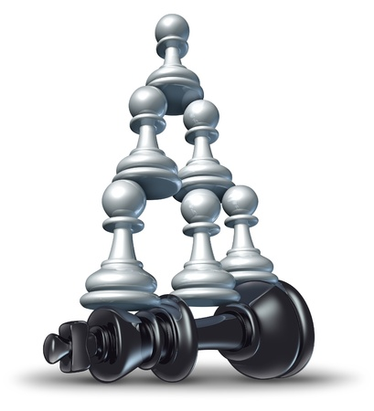 teamwork together: Team victory as a business strategy chess symbol of changing the balance of power by teaming up in partnership and collaborating together to defeat powerful competitor