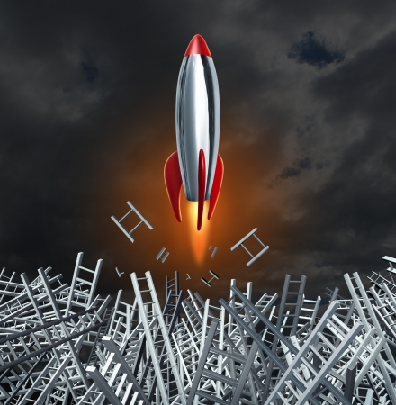 idea hurdle: Unstoppable determination and breaking down ladder obstacles and getting past confusion with a red hot rocket to achieve your personal and business goals  Stock Photo